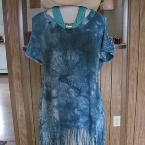 L-Love  Ladies Cut-out shoulder tie dye top with f